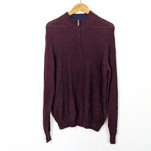3/15 Ben Sherman Red Popcorn Knit 1/4 Zip Sweater